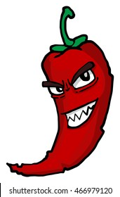 Hot chili pepper, character with angry face, isolate on white, vector illustration