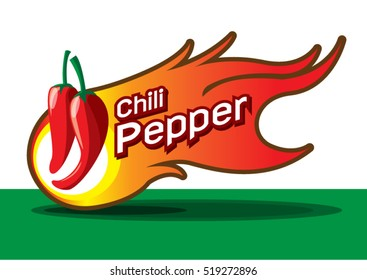 Hot chili pepper with fire burn flaming, text and icon