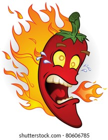 Hot Chili Pepper On Fire Cartoon Character