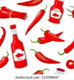 Hot chili pepper and sauce bottle seamless on white background. Vector pattern with cartoon spice vegetable used for magazine, poster, card, menu cover and web pages.