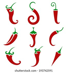 Hot chili pepper vector isolated on white background