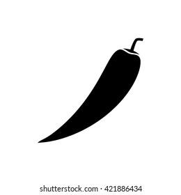 Hot chilli pepper icon. Silhouette vector illustration