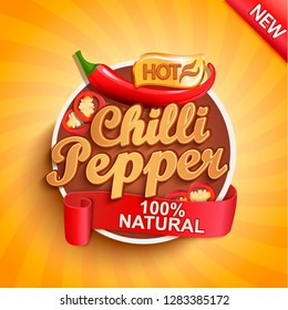 Hot chilli pepper logo, label or sticker on sunburst background. Natural, organic food.Concept of tasty vegetable for farmers market,shops,packing and packages, advertising design.Vector illustration.