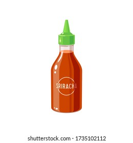 Hot chilli sauce sriracha bottle, vector illustration cartoon icon isolated on white background.