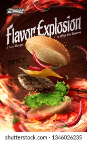 Hot chilly hamburger ads with blazing fire in 3d illustration