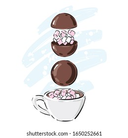Hot chocolate bomb illustration. Hot chocolate bomb with mini marshmallows.  Vector.