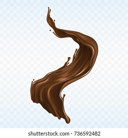 Hot chocolate, cacao or coffee splash realistic vector illustration isolated on white background. Appetizing liquid dessert product splashing design element for sweet beverage or drink ad