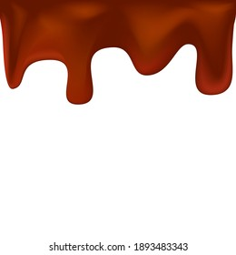 Горячий шоколад потеки. Hot chocolate drips. Vector drawing on a white background.