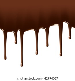 Hot chocolate drips. Vector. Seamless. Easily to change the length of the drops.