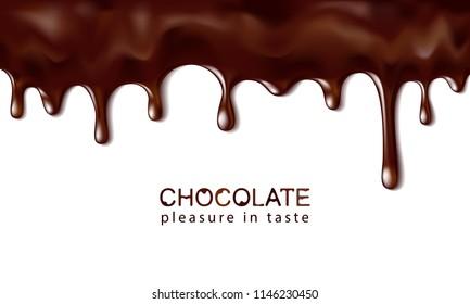 Hot chocolate flows. Drops of dark chocolate. Vector illustration.