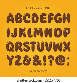 Hot chocolate font. Uppercase letters with glint