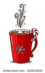 Hot chocolate with marshmallows in a red mug. Hand drawn Christmas doodle vector illustration. Winter holidays greeting card design element item isolated over white background.