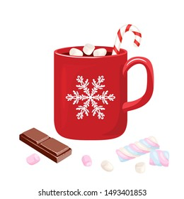 Hot chocolate in red mug with snowflake Isolated on white background. Cocoa drink with marshmallows, Christmas candy and  slice of chocolate. Vector illustration in cartoon simple flat style.