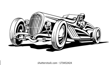 Hot classic retro sports car, roadster, vector illustration