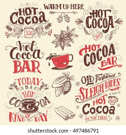 Hot cocoa hand lettering set with cup of cocoa cartoon character. Hand drawn Christmas signs for cafe, bar and restaurant