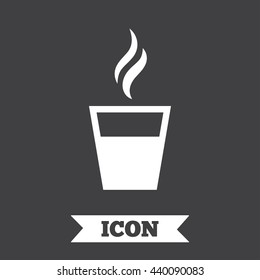 Hot coffee button. Hot tea drink with steam. Takeaway. Graphic design element. Flat coffee symbol on dark background. Vector