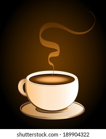 Hot coffee in a cream colored porcelain cup - brown background.