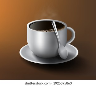 Hot coffee in a cup for coffee advertising concept design,3d vector