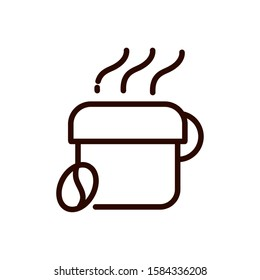 hot coffee cup and bean line design vector illustration