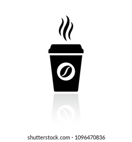 Hot coffee cup vector icon illustration isolated on white background