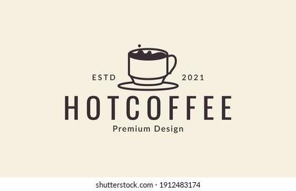 hot coffee drink cup modern logo symbol vector icon graphic design illustration