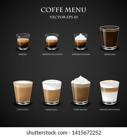 Hot Coffee menu in glass cup from Espresso machine for Coffee shop,vector,eps10.