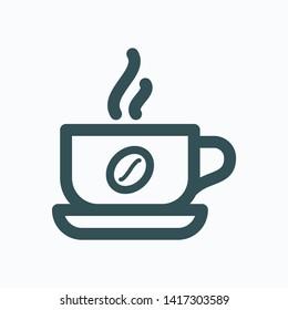 Hot coffee mug isolated icon, cafe logo vector linear icon