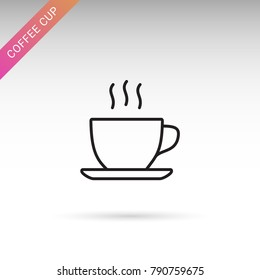 Hot coffee, tea cup thin line isolated flat vector icon
