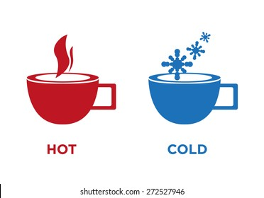 Hot and Cold Cup Symbol Isolated on White. Editable EPS10 Vector.