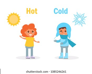 Hot Cold Opposite Antonyms Vector. Cartoon. Isolated art on white background. Flat