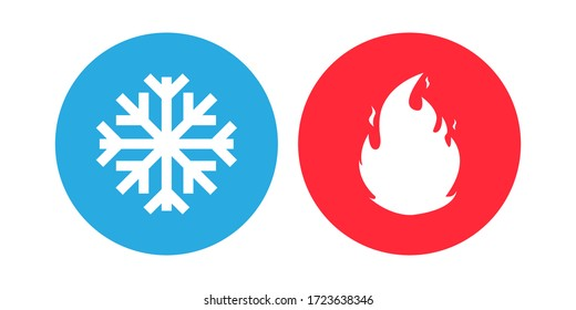 Hot and cold set icon. Isolated vector illustration.