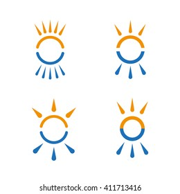 Hot and cold symbol set. Sun and snowflake all season concept logo. Vector
