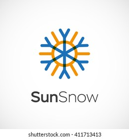 Hot and cold symbol. Sun and snowflake all season concept logo. Vector