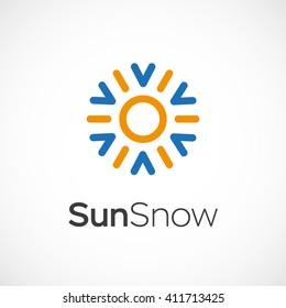 Hot and cold symbol. Sun and snowflake all season concept logo. Vector