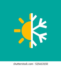 Hot and cold symbol. Sun and snowflake