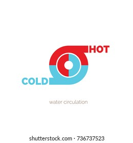 Hot and cold symbol. Sun and snowflake all season concept logo,  water circulation, hot and cold water