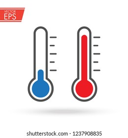 Hot and cold thermometer icon with measuring ruler. Simple Sign Of Temperature. Measuring weather indicator element. Meteorology climate control design illustration.