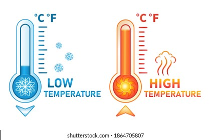 Hot and cold thermometer icon set. Low and high temperature on measuring sсale. Meteorological measurements weather in summer and winter. Control level cooling and heating of equipment. Flat vector