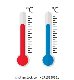 Hot and cold thermometers icon isolated on white background. Vector illustration. Eps 10.