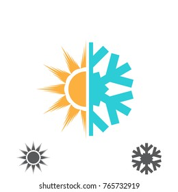 Hot and cold vector illustration. Sun and snowflake icon isolated on white