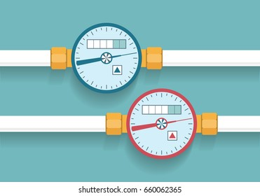 Hot and cold water meters set. Flat style vector illustration.
