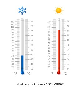 Hot and cold weather temperature symbols. Meteorology thermometers with celsius and fahrenheit scale vector illustration. Thermometer fahrenheit and celsius degree measurement