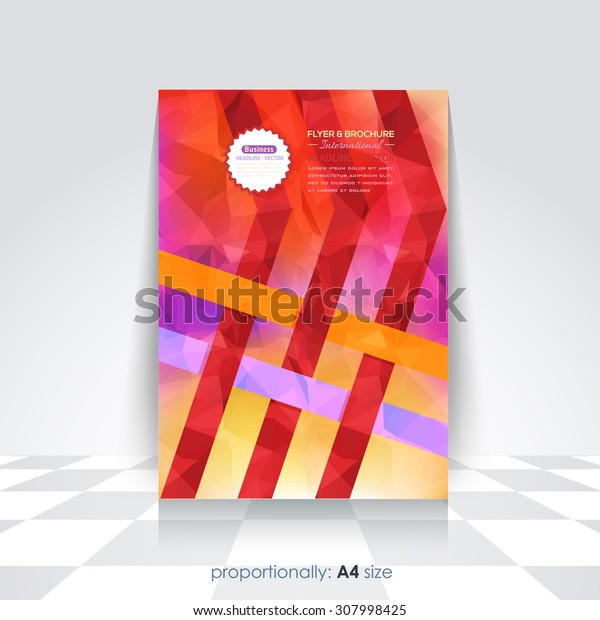 Hot Colors Geometric Background and Ribbon A4 Flyer. Cover Design, Corporate Leaflet, Vector Brochure