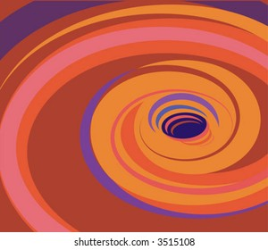 Hot colors swirling down a hole