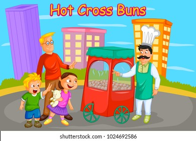 Hot Cross Buns, Kids English Nursery Rhymes book illustration in vector