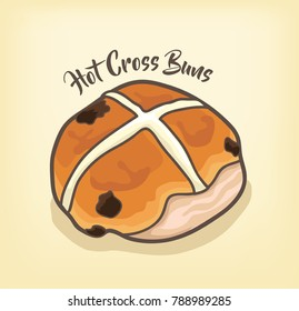 Hot Cross Buns vector with Chocolate Chip