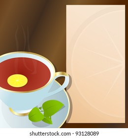 Hot cup of black tea, with lemon, green leaves and notepad for descriptions beside it./Cup of black tea.