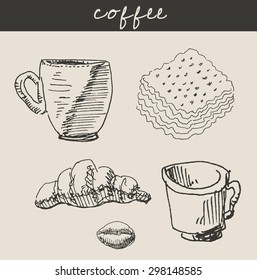 Hot cup of coffee or tea, with  croissant, in etching vintage comics sketch hand drawn style, for gourmet food and  restaurant design
