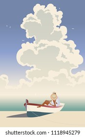 Hot day at the beach. Huge beautiful cloud meets blurred sea horizon. Young woman and man are sitting in a tied down rowing boat. Retro style design. EPS 10 Vector illustration and photo image.