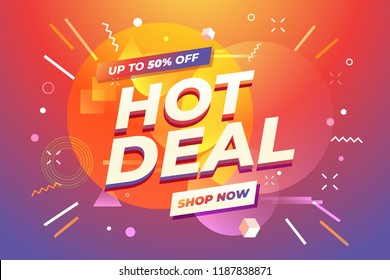 Hot Deal banner, special offer, up to 50% off. vector